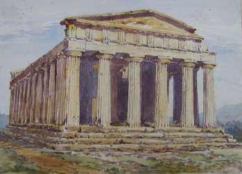 Watercolour of The Temple of Concord, Sicily, by May T-A, 1899.