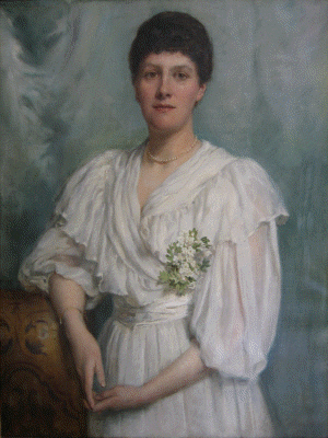 Portrait of May in a white dress